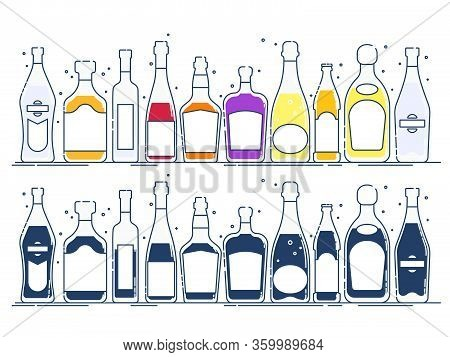Collection Bottle Alcoholic Drinks. Alcohol Container Stand In Row. Illustration Isolated. Flat Desi