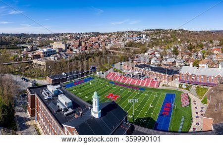 Morgantown, Wv - 6 April 2020: Aerial Drone View Of The Downtown Area Of Morgantown West Virginia Wi
