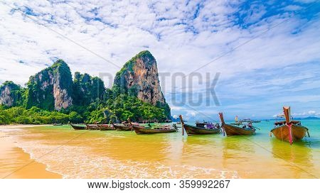 Long Tailed Boats At Famous Railay Beach. Boats Prepared For Tourists From Beautiful Thailand Beach.