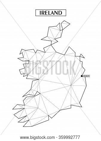 Polygonal Abstract Map Of Ireland With Connected Triangular Shapes Formed From Lines. Capital Of Cit