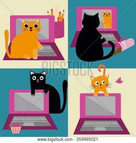 Cute Cartoon Cat And Laptop Vector Seamless Pattern Background. Ginger And Black Felines Interruptin