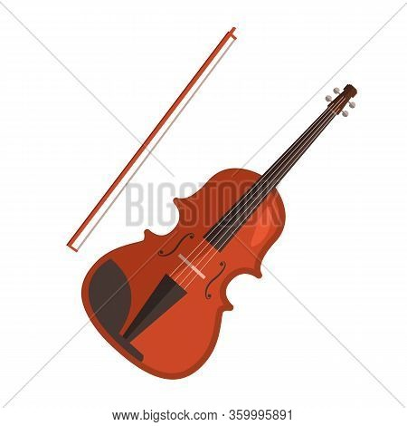 Violin Flat Icon. Fiddle, Classical Music, Symphony Orchestra. Musical Instruments Concept. Illustra