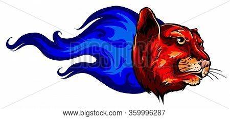 Fierce Panther Head Among Fire Flames Blazing Leopard Vector Profile Design