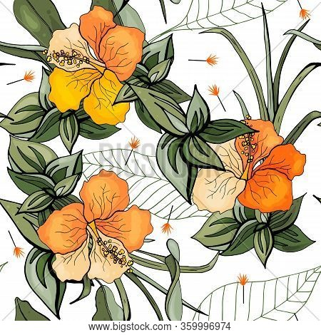 Vintage Background. Wallpaper. Blooming Realistic Isolated Flowers. Hand Drawn. Vector Illustration.