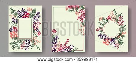 Simple Herb Twigs, Tree Branches, Leaves Floral Invitation Cards Collection. Herbal Corners Romantic