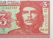 Detail of Che Guevara on a Vintage 3 Pesos banknote from Cuba poster