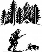Hunter skiing with his dog in the forest poster