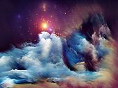Arrangement of dreamy forms and colors on the subject of dream imagination fantasy and abstract art poster