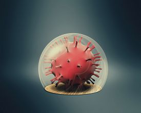 Virus Cell Inside A Sphere  . Stay At Home Concept . Self Isolation During Quarantine .this Is A 3d