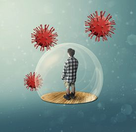 Man Inside A 3d Bubble Shield Protection Surrounded By Virus Cells . Stay At Home Concept . Self Iso