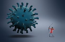 Archer Shooting Virus Cell .  Fight Covid-19 . Research For A Vaccine Concept . Attacking Bacteria .