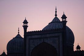 Delhi, India - December 04, 2019: Silhouette Of Historic Jama Masjid During Sunset.