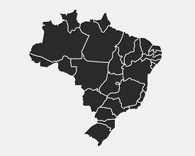Brazil Map With Regions And States Isolated On White Background. Map Of Brazil. Vector Template.