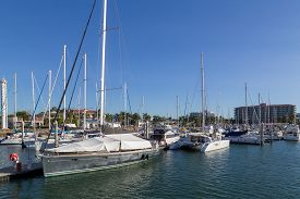 Townsville, Australia - May 11, 2015: Sailboats Anchored At The Sailboat Harbour