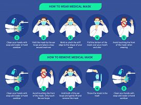 How To Wear Medical Mask And How To Remove Medical Mask Properly. Step By Step Infographic Illustrat