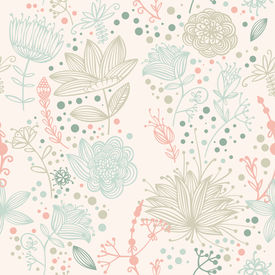Vector Flower And Leaf Retro Pattern