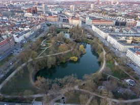 Copenhagen, Denmark - March 31, 2020: Aerial Drone View Of Orstedsparken, A Public Park In The City