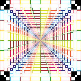 Abstract Arabesque Rgb Swatches Stairs Perspective Design On Transparent Square Plaid Background