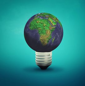 Light Bulb With Planet Earth Isolated On Blue Background. This Is A 3d Render Illustration .