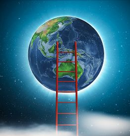 Ladder To Planet Earth Into The Space . This Is A 3d Render Illustration .