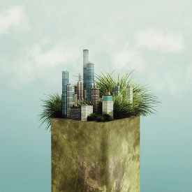 City On A Pair Of Earth . The Grass Grows In The City Through Buildings . Eco Friendly Town Concept