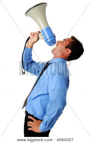 Businessman Using Megaphone