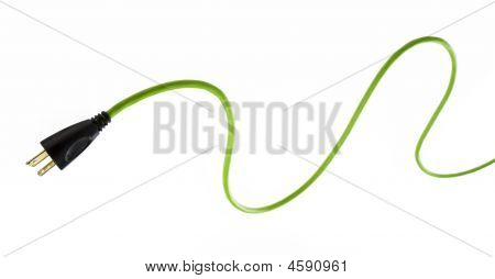 Studio photo of bright green electrical cable with plug in foreground. White background. poster