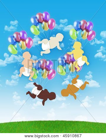 poster of five babies of different human races flying all together on colorful balloons on a blue sky background symbol of human unity
