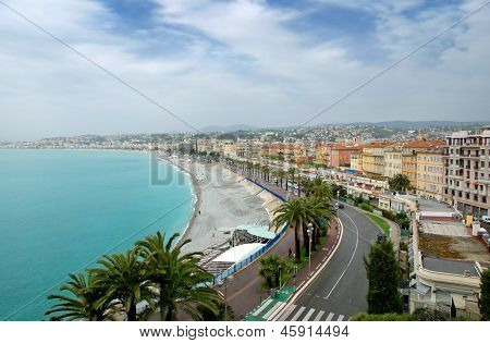 Panoramic view city of Nice in France. Luxury resort of French riviera. poster
