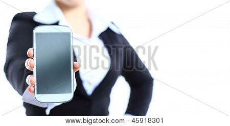 Close up of a happy woman showing her new phone on white background