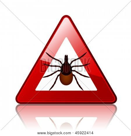 vector Ixodes ricinus tick road warning sign