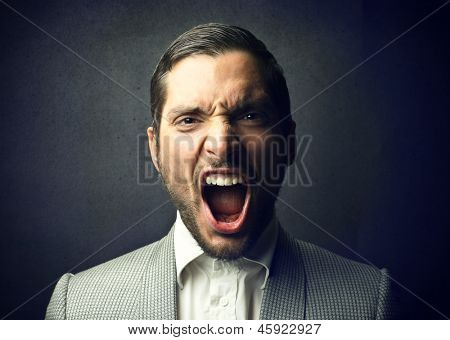 portrait of elegant man screaming