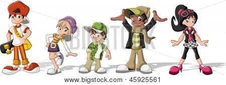 Group of hipster cartoon young people. Cool teenagers.