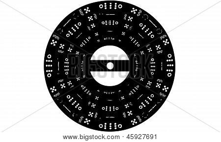 Isolated Vector Illustration of Patterned Vinyl Record