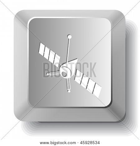 Spaceship. Vector computer key.