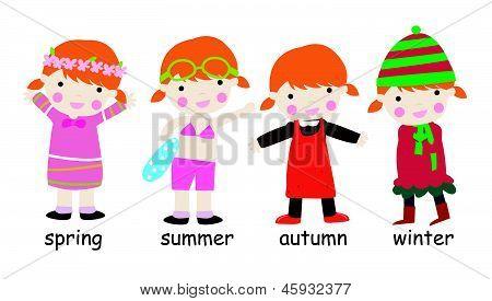 Illustration of four season children