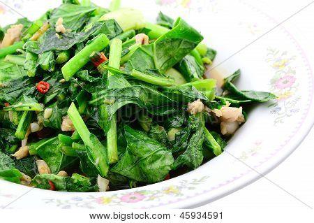 Stir Fried Of Chianease Kale Vegetables With Pork