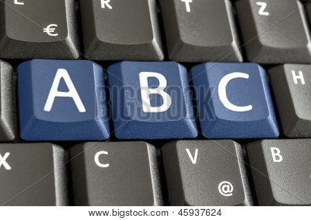 Letters A, B And C Emphasised On Computer Keyboard