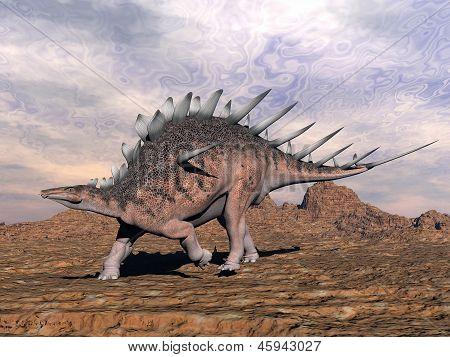 Kentrosaurus Dinosaur In The Desert - 3D Render