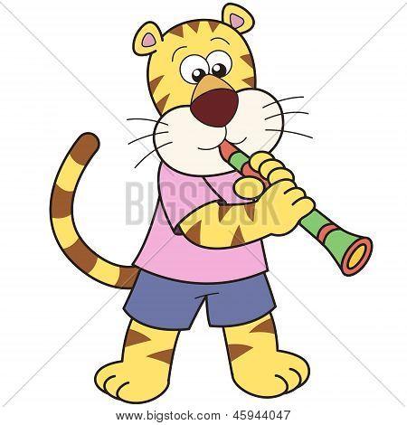 Cartoon Tiger Playing A Clarinet