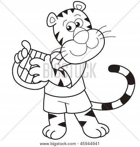 Cartoon Tiger Playing A Harp
