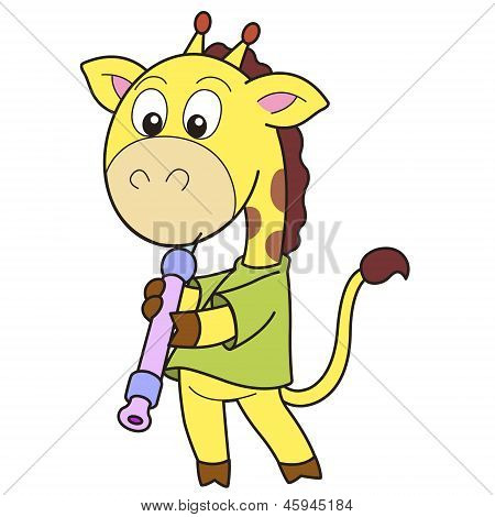 Cartoon Giraffe Playing An Oboe