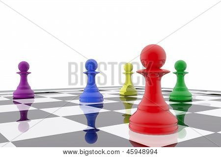 Chess Pawns In Different Colors