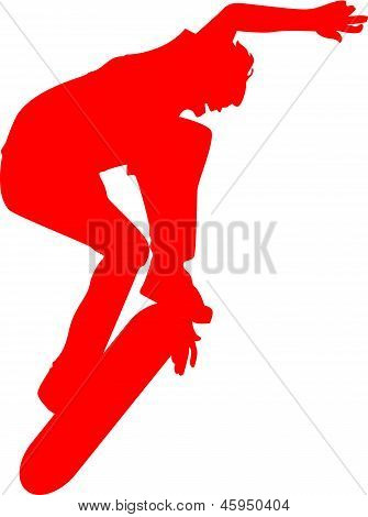 Skateboarder Stunt Sillhouette