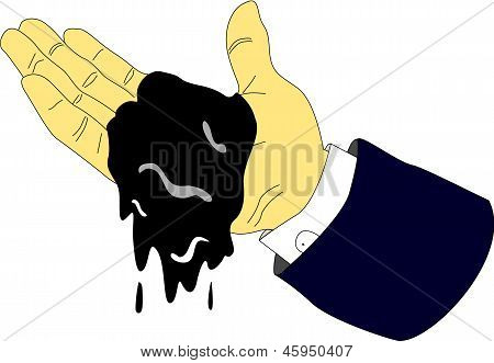 Petrol Dripping From Executive Hands