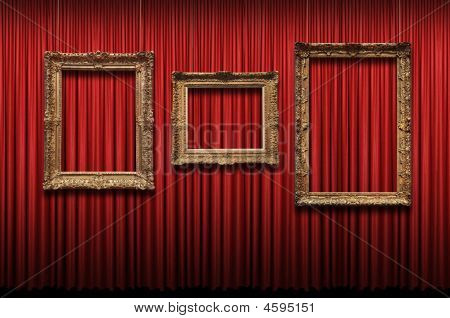 Red Curtain With Vintage Frames