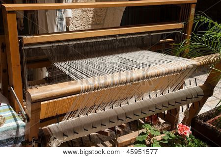 Hand loom in front view - All strings attached - Textile abstract poster