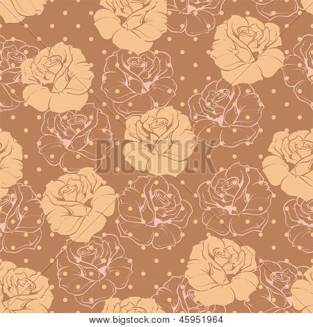 Seamless vector retro floral pattern with beige roses on brown background with polka dots. Beautiful abstract vintage texture with flowers and cute background. poster