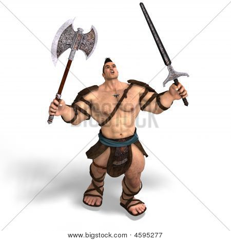 Muscular Barbarian Fight With Sword And Axe