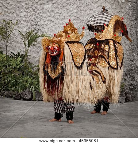 The traditional costume for a theater performance - Barong. Indonesia Bali poster